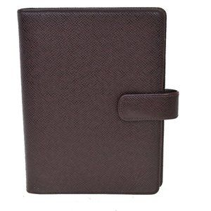 Auth LOUIS VUITTON Agenda MM Day Planner Cover Taiga Leather Grizzly